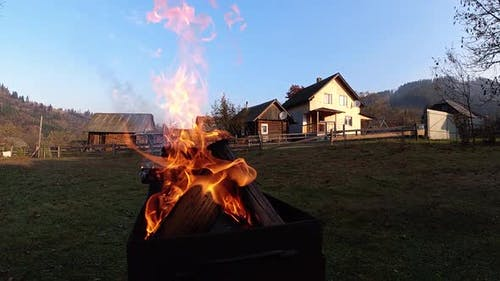 Burning fire in brazier. Super slow motion.