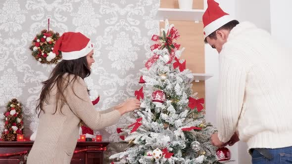 Thumbnail for Couple Decorating a Christmas Tree in the Living Room