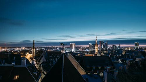 Tallinn, Estonia, Europe. Time Lapse Time-lapse Night To Day, Of Cityscape. Transition From Night To