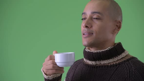 Thumbnail for Face of Happy Bald Multi Ethnic Man Drinking Coffee Ready for Winter