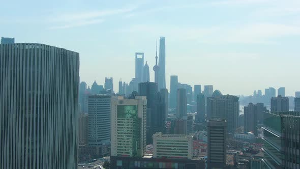 Thumbnail for Shanghai City. Urban Lujiazui Cityscape at Sunny Day. China. Aerial View