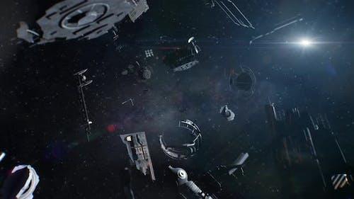 Space Debris Floating in the Depths of Space