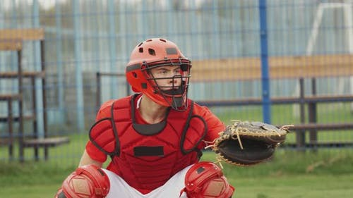 College Sports, Baseball Catcher Teenage Catches a Fastball,  Slow Motion