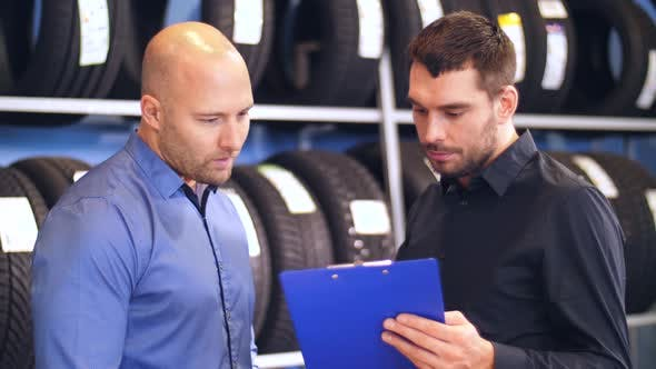 Thumbnail for Customer and Salesman at Car Service or Auto Store 5