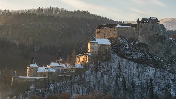 Thumbnail for Winter Sunset over Historic Castle of Dracula