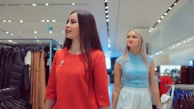 Girls Walk Around the Store