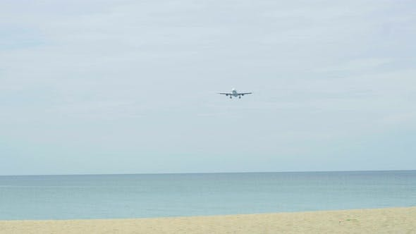 Thumbnail for Widebody Airplane Approaching Over Ocean