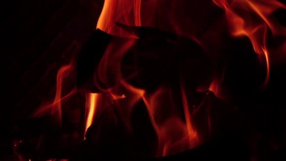 Thumbnail for Burning Logs in Fire on Black Background in Slow Motion