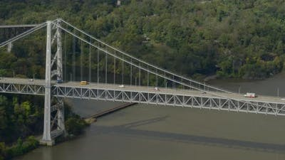 Aerial Panning Shot of Bear Mountain Bridge