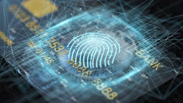 Thumbnail for Bank card with fingerprint tech concept glowing lines.