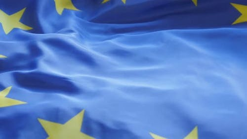Flag of Europe high definition  1080p HD footage - European Union  official flag slow panning over 1