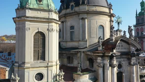 Thumbnail for Aerial Video of Dominican Church in Central Part of Old City of Lviv, Ukraine