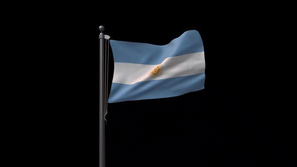 Argentina Flag On Flagpole With Alpha Channel