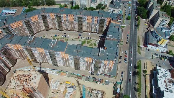 Modern urban residential area. New multi storey residential building apartment houses