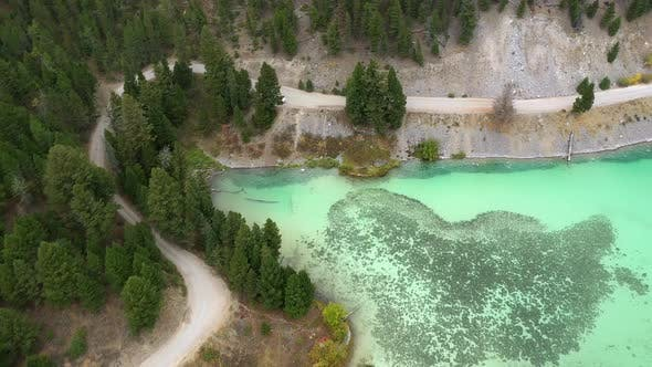 Thumbnail for Flying along the shoreline of Cliff Lake viewing the aqua colored water