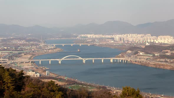 Thumbnail for Timelapse Seoul City Parts Surround Winding Blue River