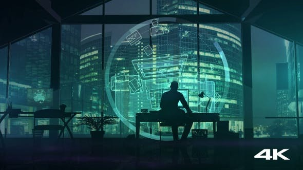 Thumbnail for Silhouette of a web designer on the background of business center skyscrapers 4K