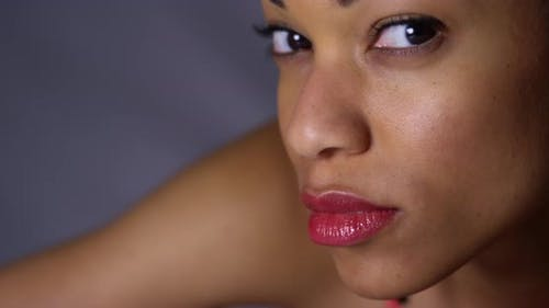 Closeup of african woman looking at camera