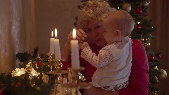 Grandmother with Her Granddaughter Celebrating Christmas