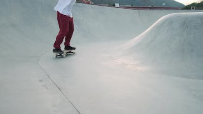 Sporty Hobby of Modern Youth Skateboarding in Extreme Park Extreme Sports
