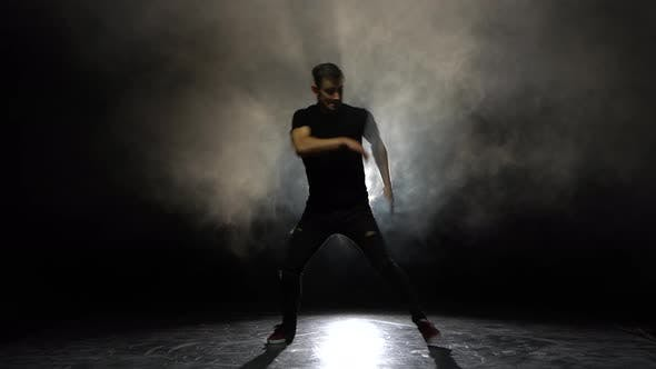 Cover Image for Dancing Man Young Talented Street Dancer Breakdancing Performing Various Freestyle Dance Moves Fit