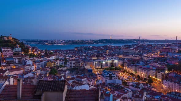Thumbnail for 4 K Day to Night Timelapse of Lisbon Rooftop from  Senhora Do Monte Miradouro - Portugal