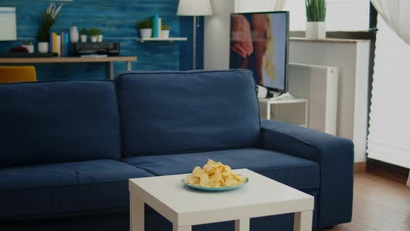 Modern Living Room with Nobody in with Blue Furniture