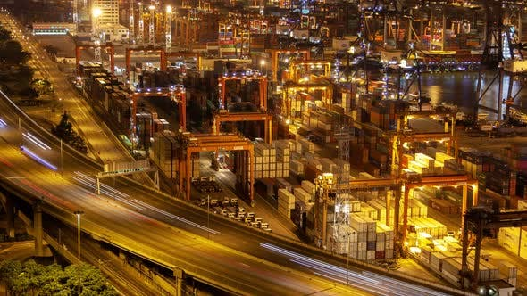 Thumbnail for Hong Kong Container Port Terminal and Logistics Center Timelapse at Night Pan Up