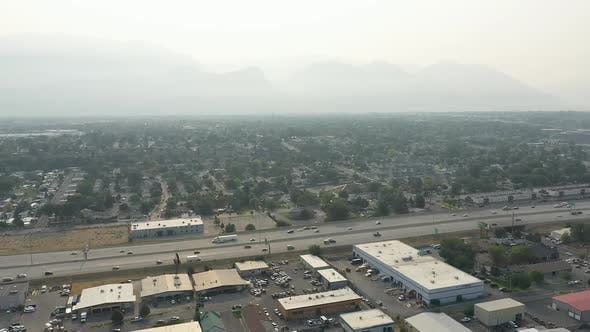 Thumbnail for Traffic on the freeway in Utah County on smokey day from California wildfires