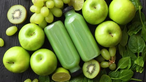 Fresh Fruits and Vegetables in Green Color Concept