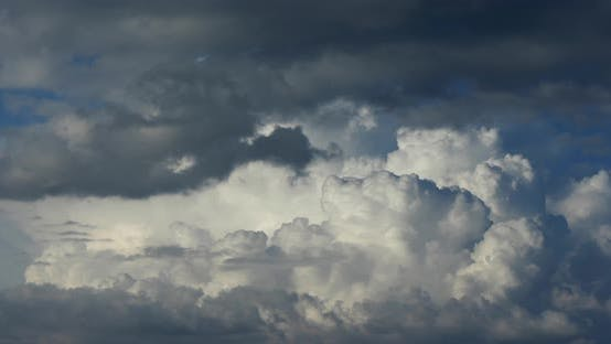 Thumbnail for Cumulus clouds fast flying sky timelapse.