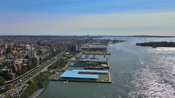 Aerial View of Downtown Brooklyn Over Hudson River New York City