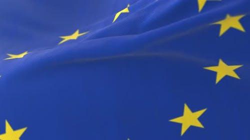 Flagge von Europa wehend