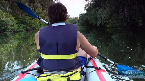 Man on Kayak Swim on Big River.