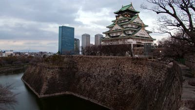 Osaka Feudal Castle Defence Wall Japan Timelapse