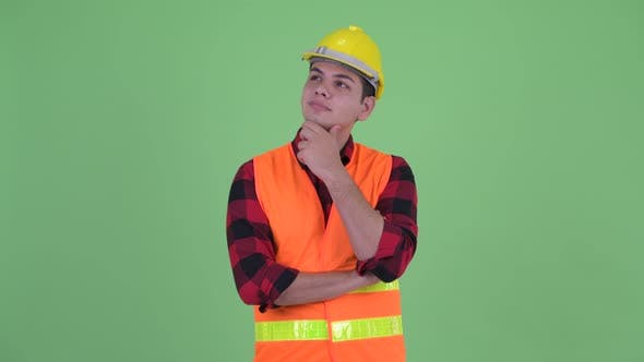 Thumbnail for Happy Young Multi Ethnic Man Construction Worker Thinking