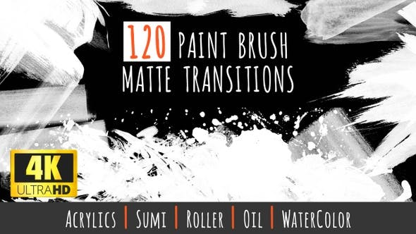 Thumbnail for 120 Paint Brush Matte Transitions - 4K Pack