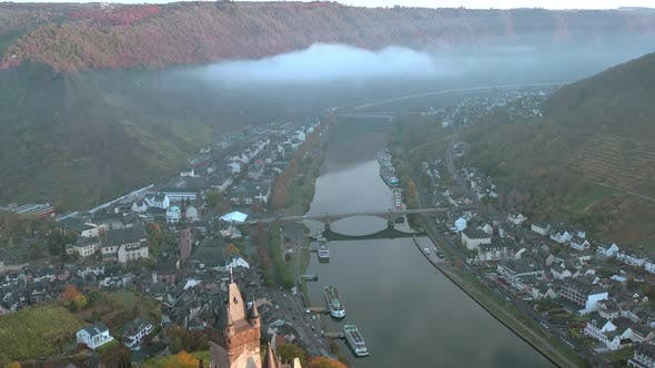 Thumbnail for Sunrise View of Cochem in Germany with the Medieval Castle Overlooking the River