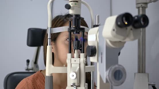 Thumbnail for Woman check on eye in the clinic