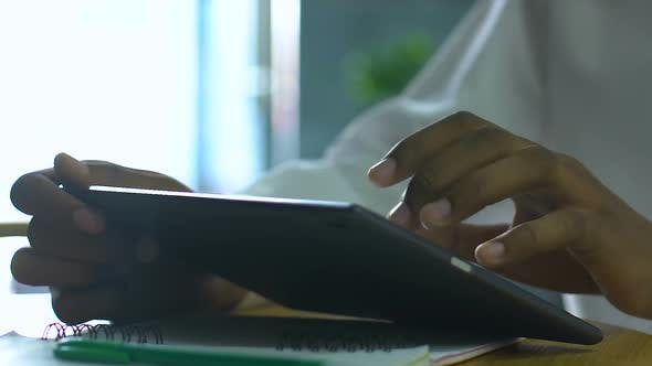 Student Hand Typing On Tablet, Innovative Education