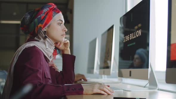 Portrait of Businesswoman in Hijab Working on Computer