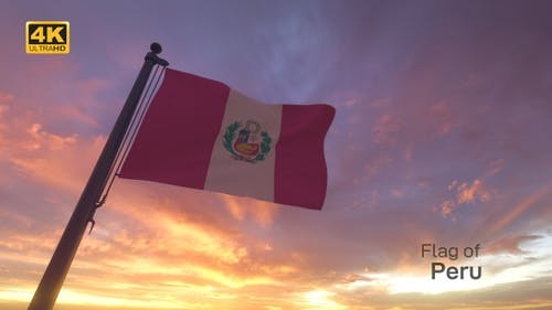 Peru Flag on a Flagpole V3 - 4K