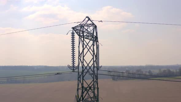 Thumbnail for High Voltage Electrical Transmission Pylon Close Up Aerial View