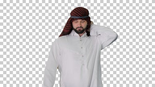 Handsome sheikh walking and looking to sides, Alpha Channel