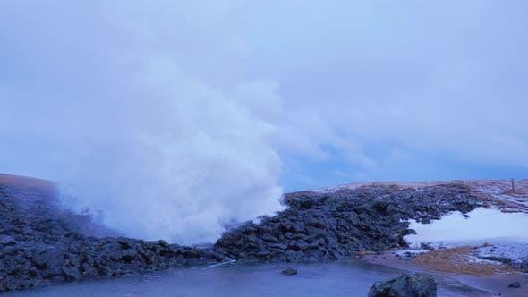 Iceland Ocean Water Erupting From Cave Blow Hole In Arnarstapi