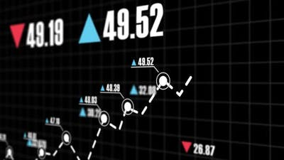 Arrows stock and investment growth on the stock exchange