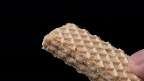 Crispy waffle biscuits with a sweet cream filling