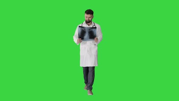 Medical Doctor Walking and Looking at X-ray Picture of Lungs on a Green Screen, Chroma Key.