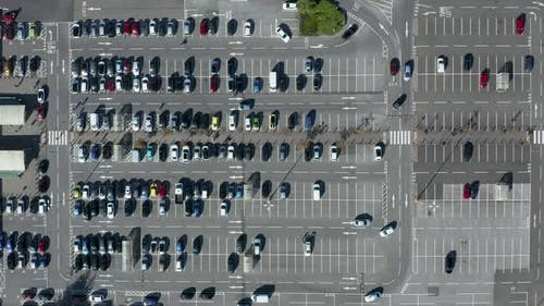 Overhead via of a busy parking lot