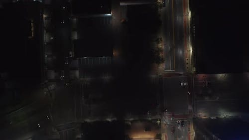 Aerial Birds Eye Overhead Top Down View of Wide Multilane Downtown Streets